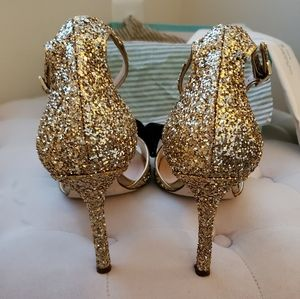 kate spade Shoes - Kate Spade gold glitter bow ankle strap heels 8